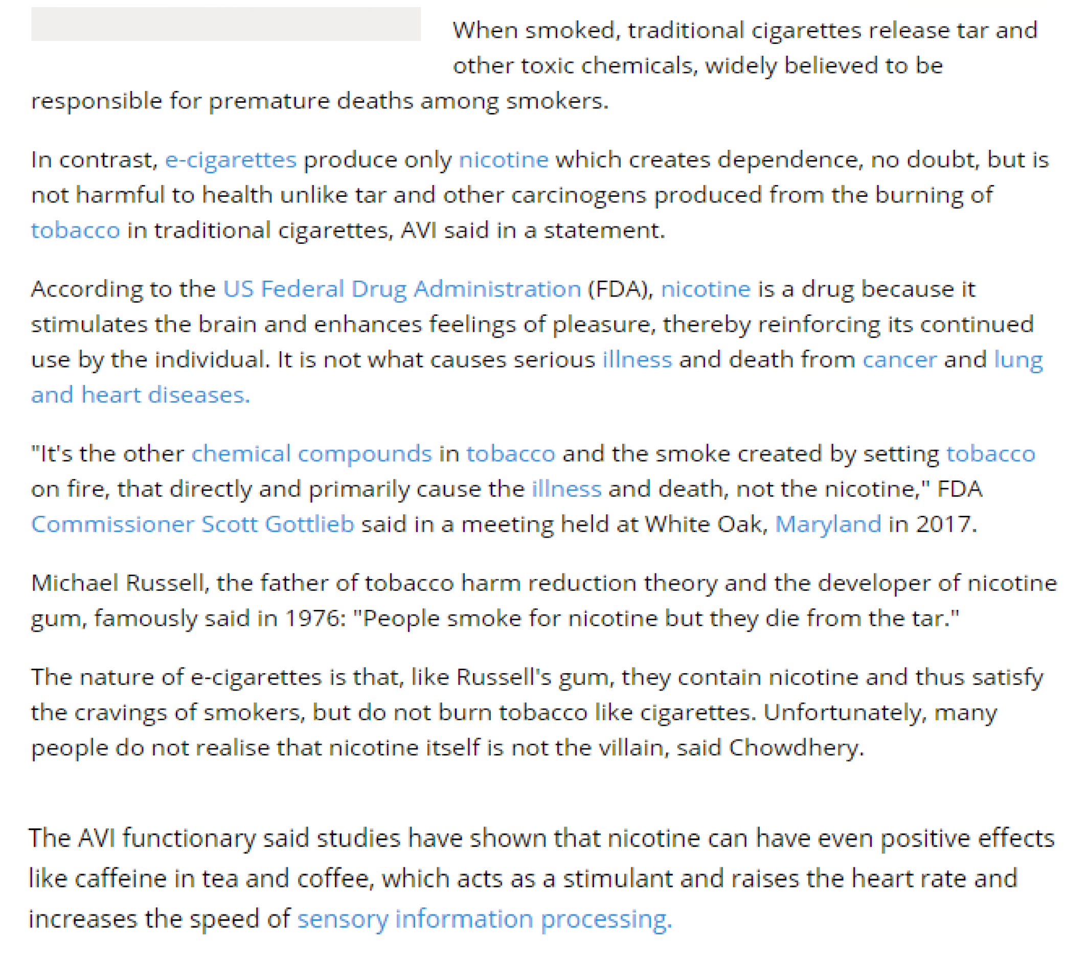 Fathers Nicotine Use Can Cause >> Nicotine Not To Be Blamed For Smoking Related Death Avi